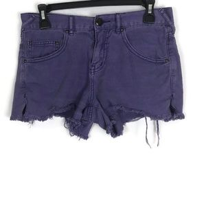 Free People Womens Shorts Size 26 Purple Raw Hem